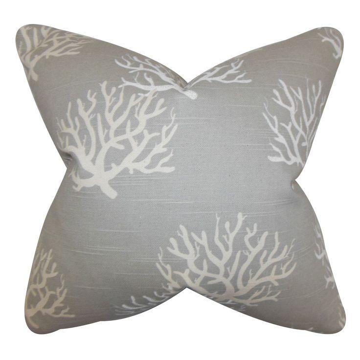 """Hafwen Coastal 24"""" x 24"""" Down Feather Throw Pillow Gray"""