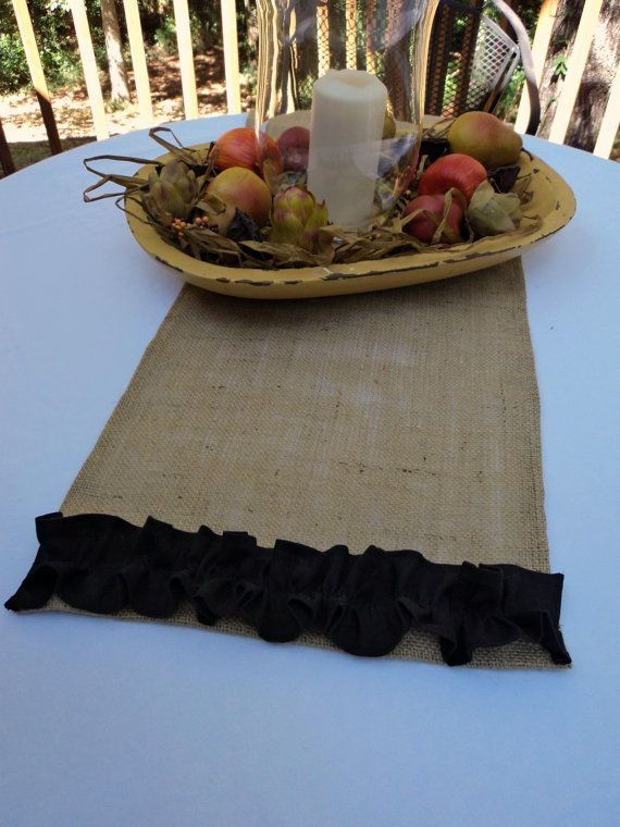 Found A Burlap Runner At Target And Some Black Rosette Trim At Hobby Lobby  And Made My Own. On My Formal Dining Room Table.