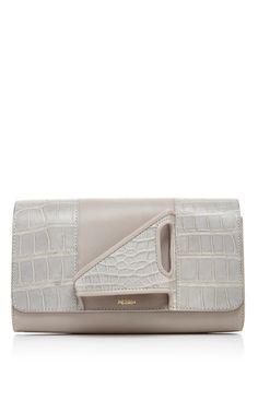 Crocodile And Calf Leather Asymmetrical Glove Clutch by PERRIN PARIS Now Available on Moda Operandi