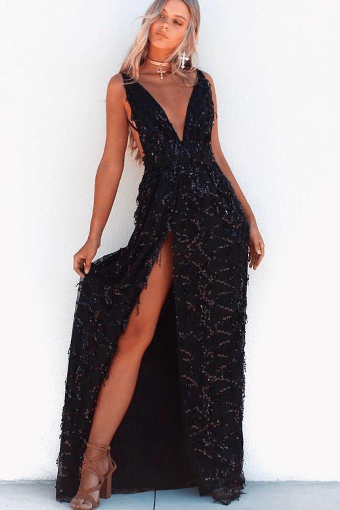 Sequin Split Maxi Dress
