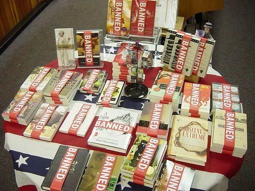 Banned book bands.: Eye Catch, Book Display, Book Week