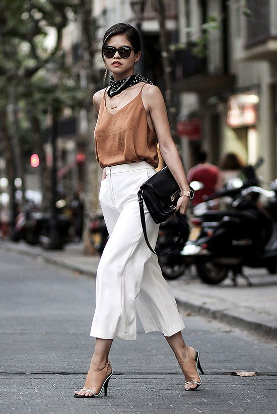 summer outfit, summer work outfit, summer office style, night out outfit, street chic style, street style - black bandana, orange cami top, white culottes, nude mule sandals, black shoulder bag, brown sunglasses