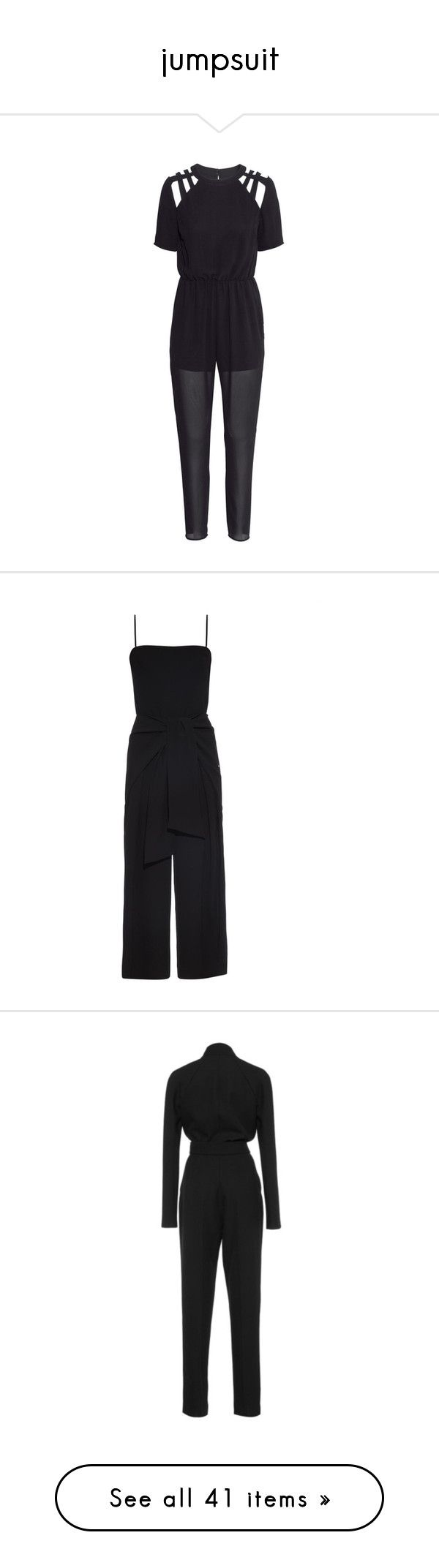"""jumpsuit"" by zarmeenahmed ❤ liked on Polyvore featuring jumpsuits, black, print jumpsuit, short sleeve jumpsuit, chiffon jumpsuit, h&m jumpsuit, patterned jumpsuit, all in ones, wrap jumpsuit and black bandeau bikini top"