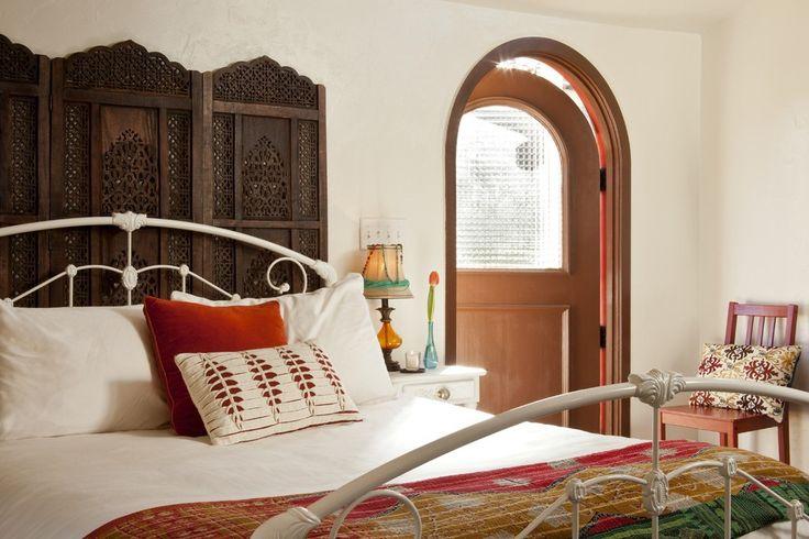Magnificent Moroccan Bedroom Design with Dark Wood Dresser Recessed Wall Niche