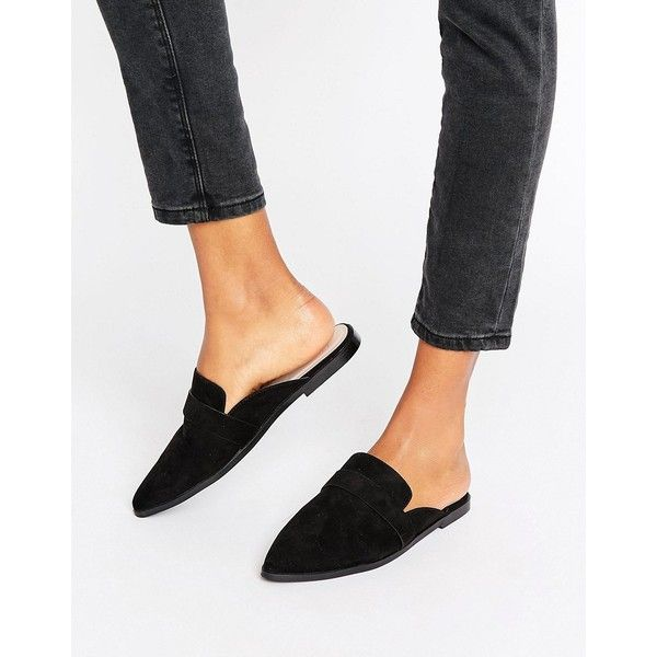 ASOS MAGGIE Flat Mules (1,870 INR) ❤ liked on Polyvore featuring shoes, flats, black, slip on shoes, black slip on shoes, pointed-toe flats, pointy-toe flats and flat shoes