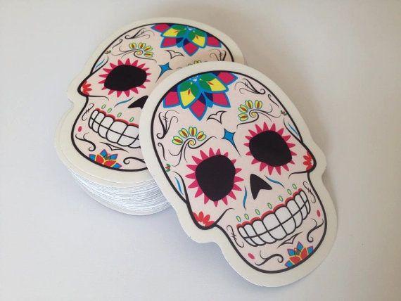 Sugar skull sticker cmyk by hmx23 on etsy 2 00