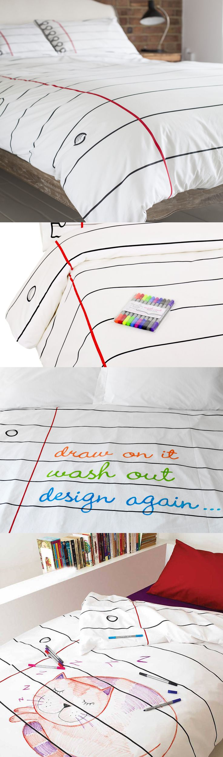 With the Doodle By Stitch Duvet Set draw whatever you want on your bed sheets and when you have had enough simply wash out and start again! Check them out at http://wtfgadgets.com/doodle-stitch-200-reversible-draw-on-duvet-set