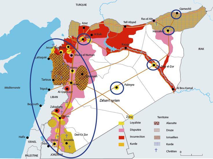 Carte animée montrant les différents enjeux du conflit syrien Source : Libération. (Sarah & Mélody)