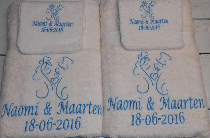 Douhelakens en washand huwelijk http://www.borduurkoning.nl/shop