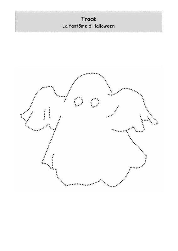 Activité de graphisme : Le fantôme d'Halloween à tracer