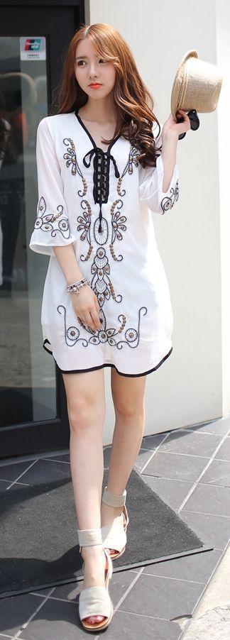 Luxe Asian Korean Women Fashion Hemi Ivory Dress