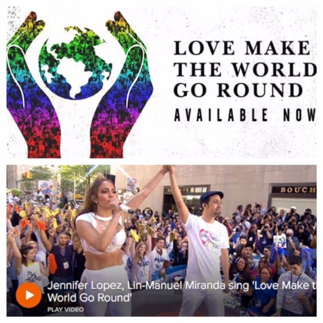 """Jennifer Lopez and Lin-Manuel Miranda collaborate on a new song, """"Love Make The World Go Round,"""" a tribute to everyone affected by the tragic shooting in Orlando. Song is available on iTunes and all proceeds from the song will go towards Hispanic Federation's Proyecto Somos Orlando, an Orlando crisis management and mental health program.  #LoveMakeTheWorldGoRound http://modernlatina.com/?p=8643&preview=true"""
