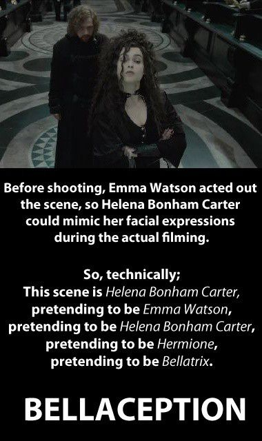 Bellaception!   A fun Harry Potter quote about Bellatrix and Hermione. I got confused at first, now I understand.