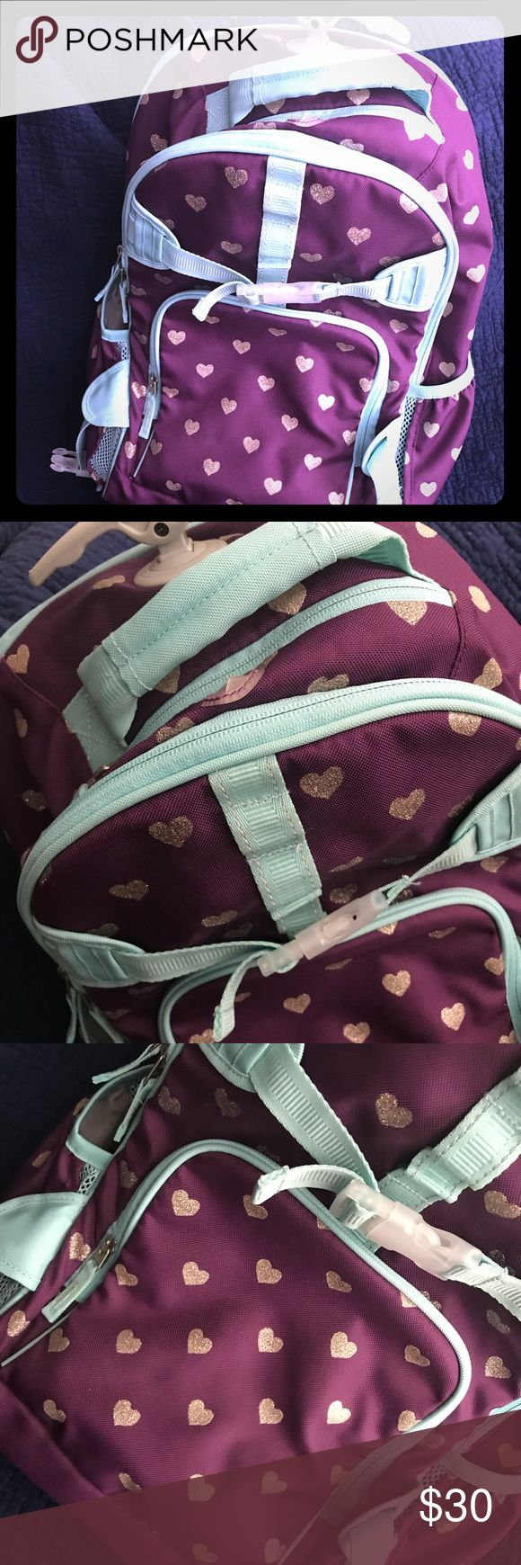 Pottery Barn Kids Rolling Backpack Pottery Barn Kids Rolling Backpack Purple, Silver, and Teal pottery barn kids Accessories Bags