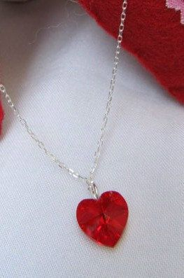 Swarovski Siam Red Crystal Heart Necklace on Silver Chain. Makes a beautiful gift. Only $15, includes gift box.