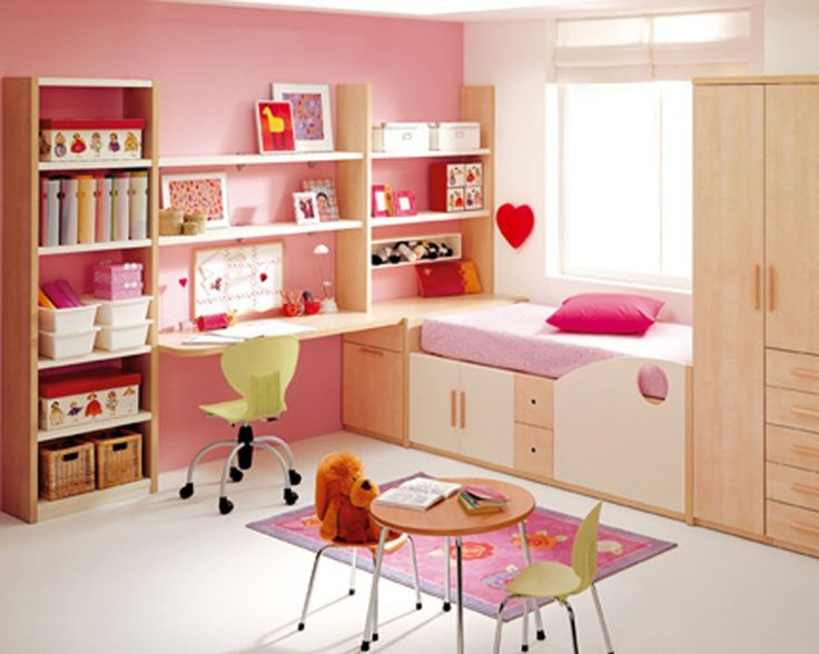Kids Rooms: Stunning Girl S Room Decor With Pink Wall And Desk Also Pink  Bed And Bookcase And Wardrobe And Pink Rug Thumbnail