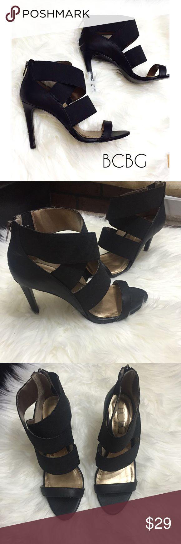 BCBG Paris Black Strappy Heels BCBG Paris, size 7, black Strappy heels. Excellent condition. 3.75 inch heel.  BCBG Shoes Heels