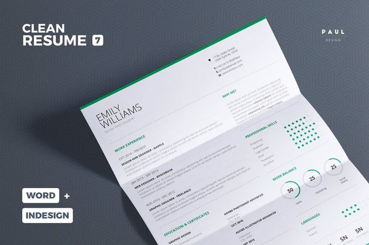 25 best 25+ Professional Resume Templates – PSD,Word,Indesign,DOC ...