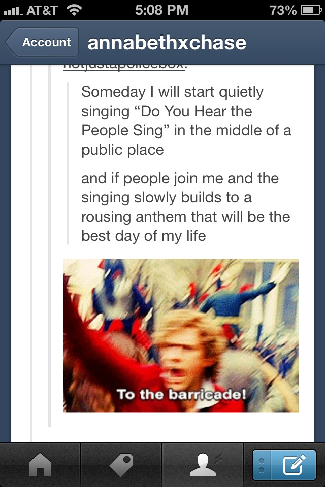 I will be doing this. I actually started this at a cast party last night because I knew I was with fellow theatre nerds. Everyone joined in and Zane started waving a blanket as if it was a flag. Best day ever.