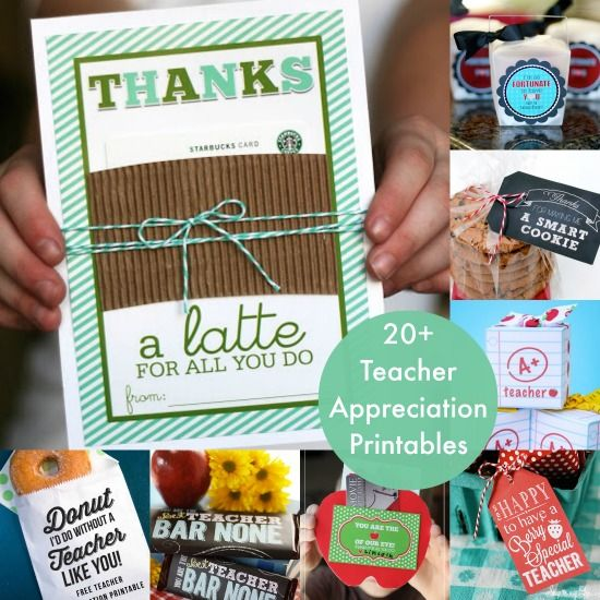 Over 20 printables and gift ideas for teacher appreciation - lots of budget friendly projects!
