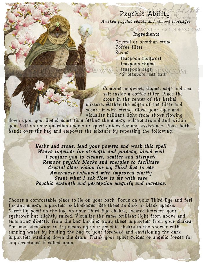Magick Spells:  Psychic Ability Spell, by Steel Goddess.