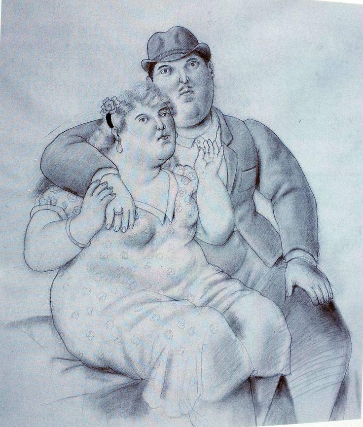 Un couple 1993 crayon et aquarelle 195 x 124
