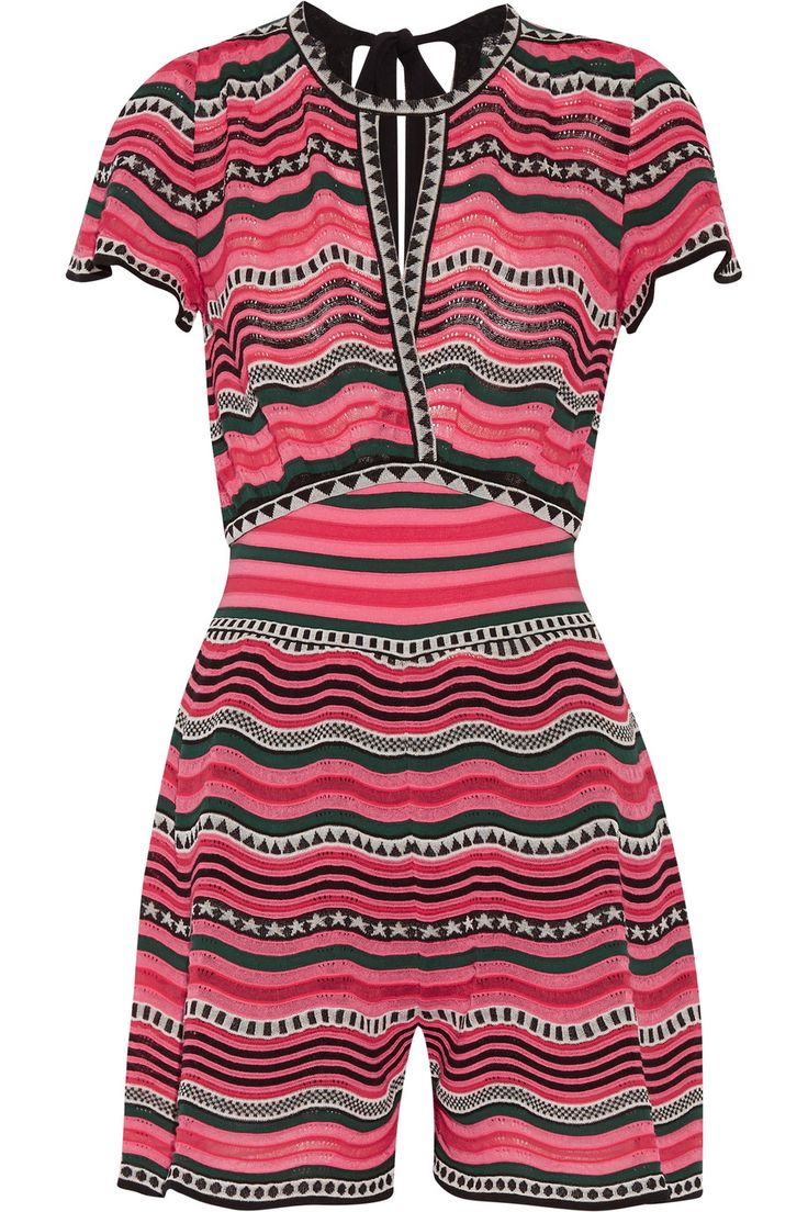 Shop on-sale M Missoni Cutout striped crocheted cotton-blend playsuit. Browse other discount designer Jumpsuits & more on The Most Fashionable Fashion Outlet, THE OUTNET.COM