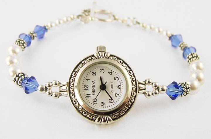Women's and ladies beaded watches, silver and gold jewelry wrist watches, designer swarovski crystal watches, sterling silver ladies dress watches, woman's gemstone beaded watches bands, beaded 14K golden watches, handmade with .925 sterling silver, 14k. gold, swarovski Austrian crystals and semi precious gemstone accents. Custom watches are our specialty.