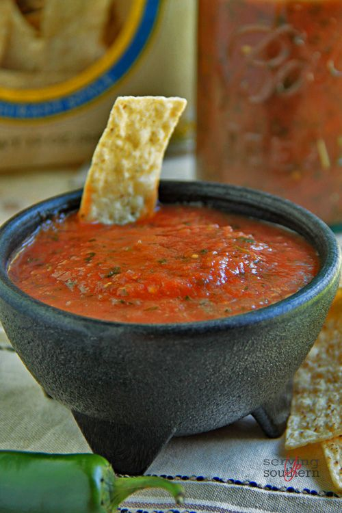 Restaurant-Style Salsa. Never have used sugar and cumin in mine but its pretty similar to what we make already.