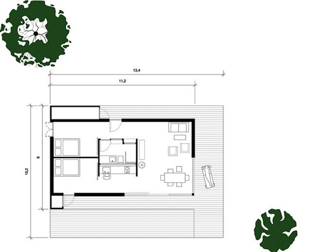 I really like this layout for a small house; two bedrooms, desk, living/dining, kitchen, bath. I would set up the bath so it was available from both bedrooms and the living area.