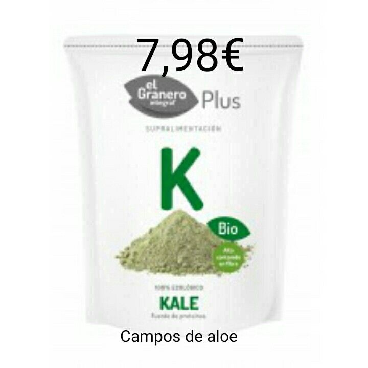 Superalimento kale con un 50%  descuento , queda en 7,98€  www.camposdealoe.es