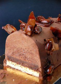 Bûche de ganache montée au chocolat, amandes caramélisées, feuilleté aux crêpes gavotte