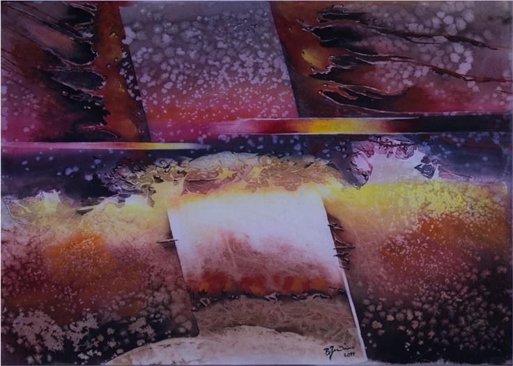 'Sunset' by Benjaminas. Medium: Watercolour. Fine Art Supplier - Drai Fine Art.