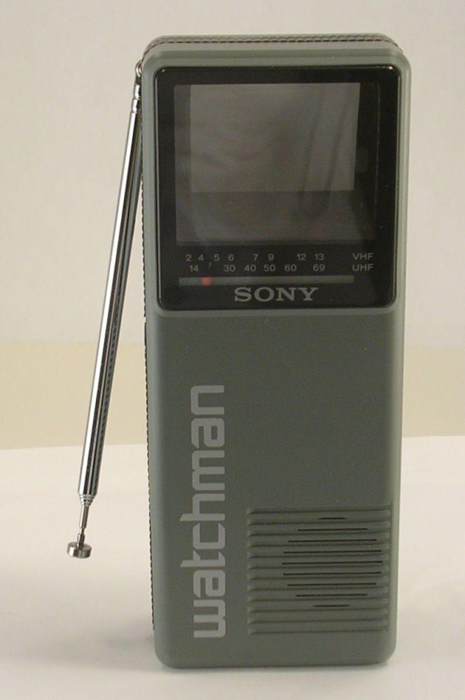 Sony Watchman Black & White Tiny TV Model No. FD-10A Gray and Black Case Vintage #Sony
