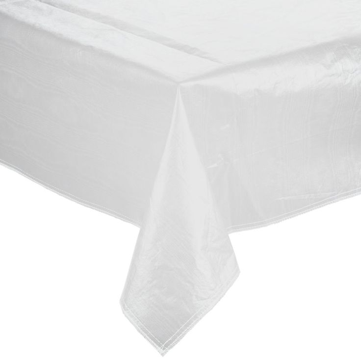 """52"""" x 72"""" White Vinyl Table Cover with Flannel Back"""