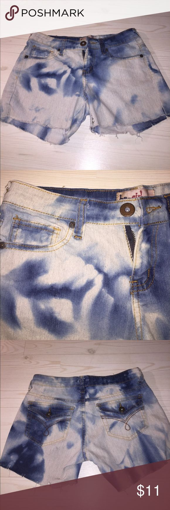 Bleach Wash Denim Shorts Unique Denim Shorts! Very soft, lightweight, I purchased like this-these are not homemade cut offs. 😜  I'm a 24in waist so I've marked them XS in size. 11 in length. be girl Shorts Jean Shorts
