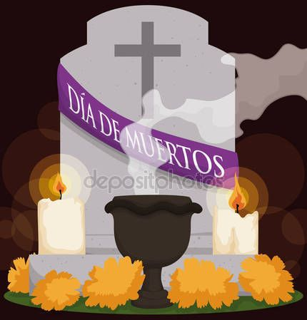 "Grave with Flowers, Candle and Incense for ""Dia de Muertos"""