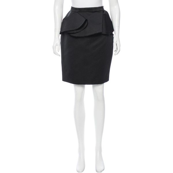 Pre-owned Lanvin Satin Pencil Skirt ($145) ❤ liked on Polyvore featuring skirts, black, peplum skirt, peplum pencil skirt, zipper pencil skirt, knee length pencil skirt and zipper skirt