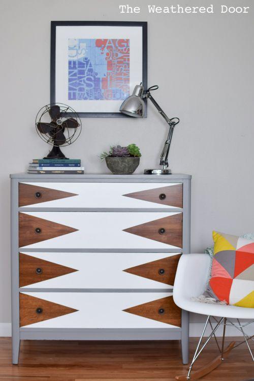 Mod Triangle mcm Dresser makeover - The weathered door