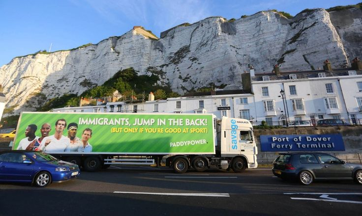 """6. Paddy Power — """"Immigrants Jump In the Back."""" The bookmaker (a perennial mischief-maker when it comes to marketing) sent this truck which featured photos of Scottish tennis star Andy Murray, Jamaica-born English footballer Raheem Sterling, Great British Olympic gold medal-winning distance runner Mo Farah, who was born in Somalia, among other non-UK-born sporting stars the UK is proud to call its own down to Dover. The stunt provoked fury for taking advantage of a major humanitarian crisis…"""