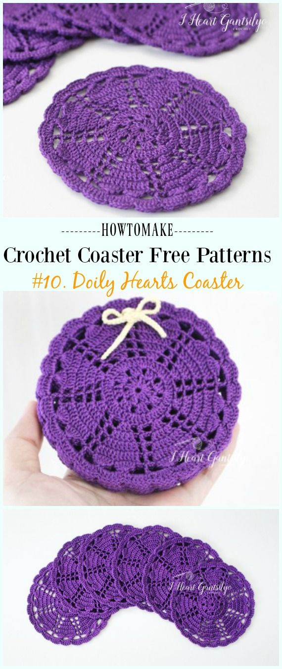 Crochet Doily Hearts Coaster Free Pattern - Easy #Crochet Coaster Free Patterns