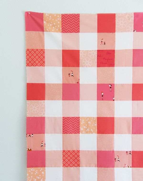 Gingham Coral Quilt by Allison Harris, Cluck Cluck Sew