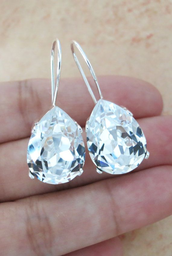 Simple Swarovski Crystal Teardrop Earrings, Clear Crystal Earrings, Silver plated, brides bridesmaid bridal simple earrings, www.glitzandlove.com