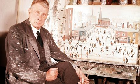 English painter LS Lowry in his studio, Salford, Manchester, England, United Kingdom, 1957, photograph by Popperfoto (photographer unattributed).