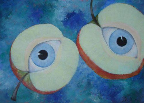 Oogappels, surrealistische acryl schilderij van Danielle Broekhuizen-Mazzola