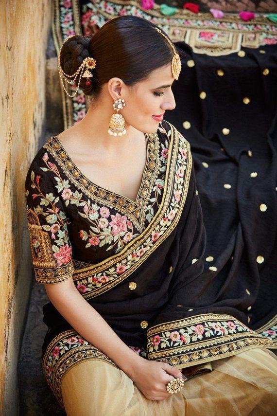 Indian Silk and Net Sari  Black and Gold  Sari by AshaMarket