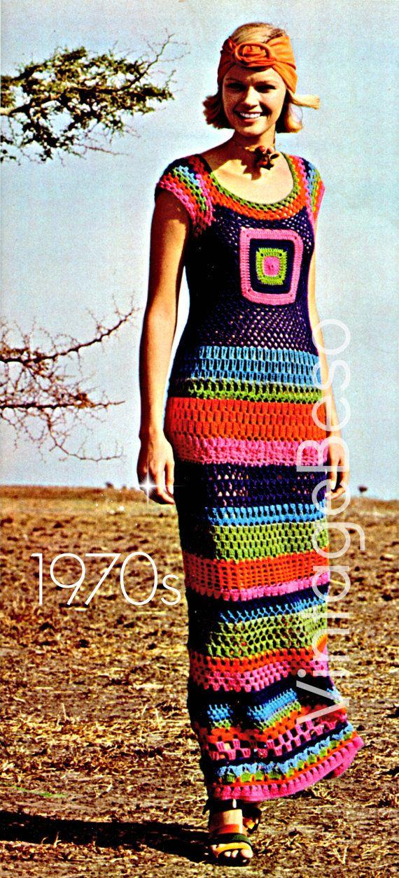 $2.23 Ladies Dress Crochet Summer Wear is a Retro 1970s Maxi Dress Vintage CROCHET Pattern - Pdf Pattern - Instant Download