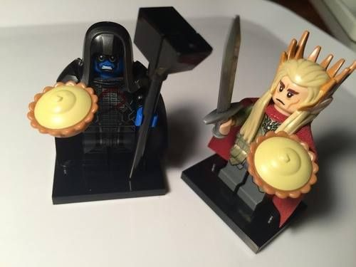 Lego Ronan the Accuser and Lego Thranduil with pies! via https://www.facebook.com/LeePace100TalentEBeauty?fref=nf