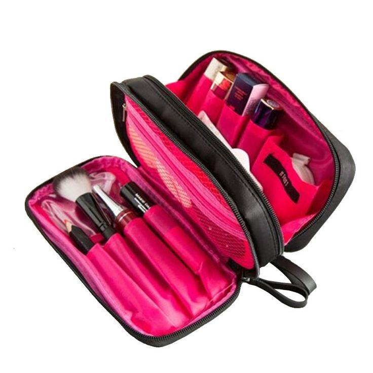 Fashion Women Cosmetic Bag Travel Double Zipper Make Up Bag Beautician Professional Makeup Bag Travel Organizer Toiletry Bags