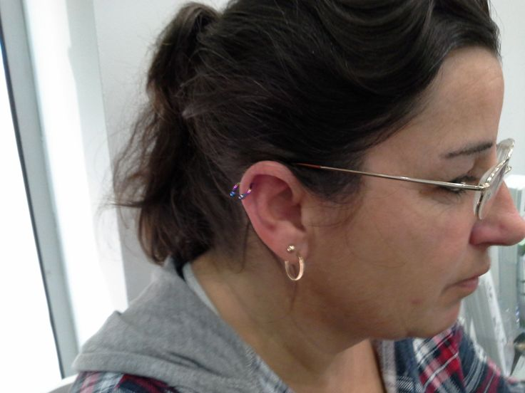 Helix piercing with a Titanium Circular Barbell